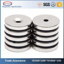 Round Base Neodymium Magnet with Center Hole Chrome Plate